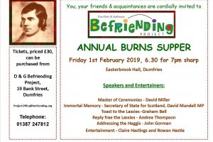 D&G Befriending Project 2019 Burns Supper, fundraising event, 1st Feb 2019 at the Easterbrook Hall, Dumfries