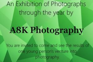 A8K Photogtaphy exhibition from 12.7.19 to 23.8.19, held at Befriending Office 19 Bank Street Dumfries, poster