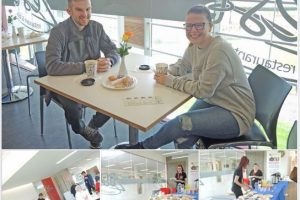 Four photos of D&G College, Prince's Trust Team 35, fund raising coffee morning.